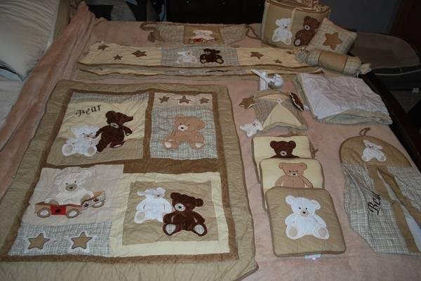New 13 Pc Teddy Bear Crib Bedding Set Gender Neutral