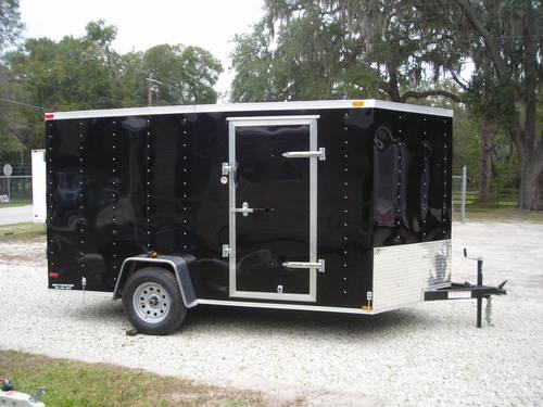 New 2014 Enclosed 7x12 Trailer V Nose Barn Doors Quot Black