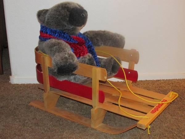 NEW  24 Tall GrayBlack Bear On A Miniture All Wood Sled -