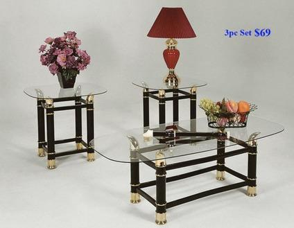 New 3pc Coffee Table Set