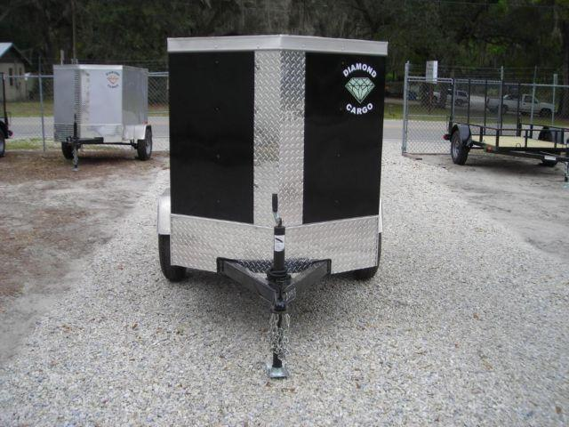 new 4x6 diamond cargo 4x6 black enclosed trailer v nose