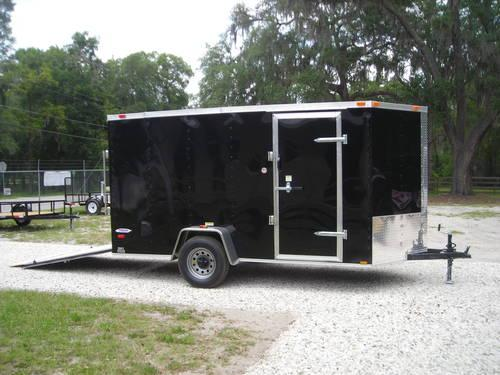 New 6x12 Black Enclosed Trailer Ramp V Nose 6 3