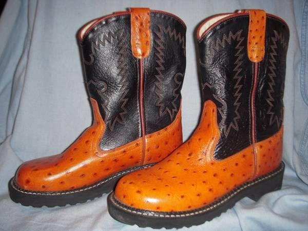 New Ariat Womens FatBaby Western Black Ostrich Print Boots Size 7 - $65