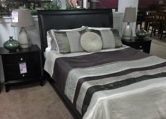 new black leather headboard queen bed two left great buy downtown brenner 39 s liquidation. Black Bedroom Furniture Sets. Home Design Ideas