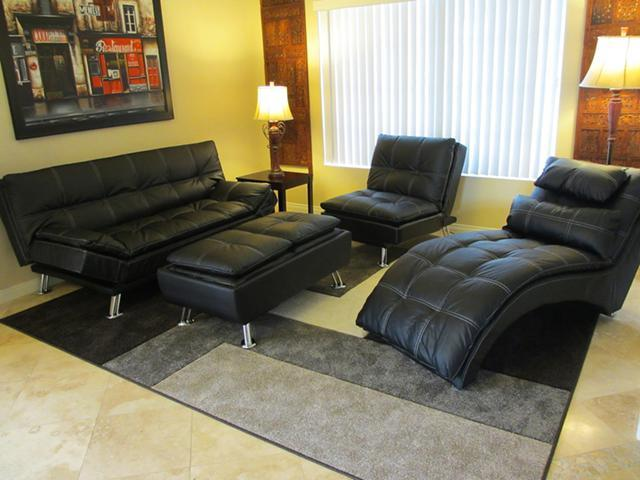New Black Leather Sofa Futon Chair Chaise Lounge Amp Coffee