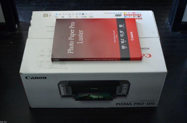 New Canon Pixma Pro 100 Photo Printer 50 Lu 101 13x9 Luster Paper