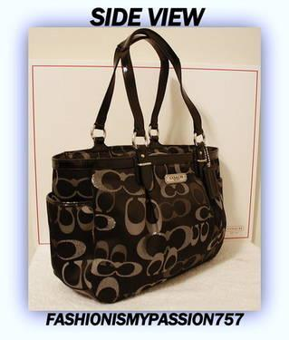 NEW COACH OPTIC SIGNATURE BLACK GALLERY EAST WEST TOTE SHOULDER BAG