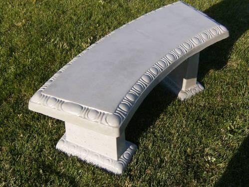 New Concrete Curved Scallop Edge Bench With Matching Legs