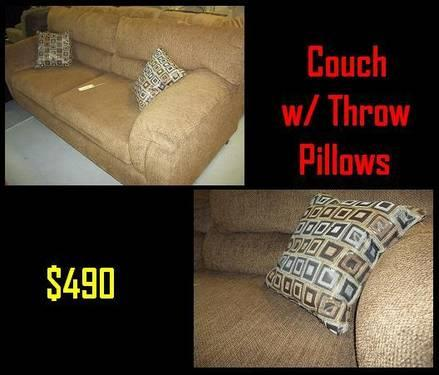 **NEW** Couch with Throw Pillows - very comphy