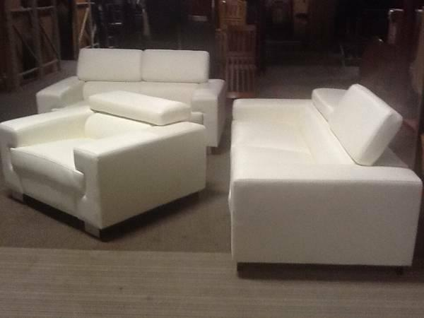 Astonishing New Cream Leather Sofa Love Seat Chair With Adjustable Gmtry Best Dining Table And Chair Ideas Images Gmtryco