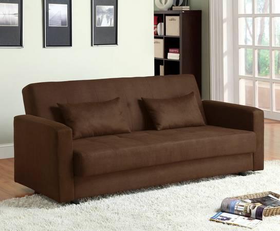 New Dark Brown Microfiber Futon Sofa For For Sale In