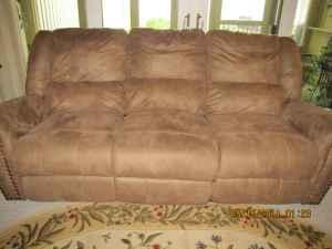New Leather Look Couch With Wall Hugger Recliners Both