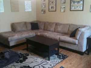 New Modern Micro Suede Sectional Couch Ozark For Sale