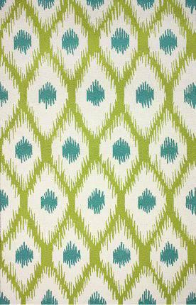 New Nuloom Lime Green Teal Blue Ikat Contemporary Print 5