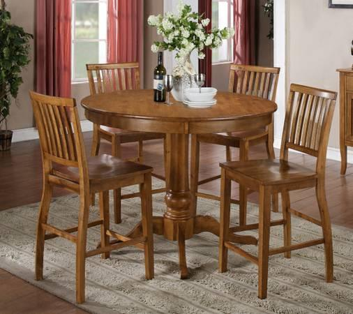 Tables Chairs For Sale: New Oak Bar Height Table And Chairs