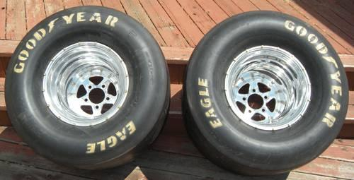NEW PAIR GOODYEAR EAGLE DRAG RACING SLICKS 33 18  15 SFI RIMS WHEELS
