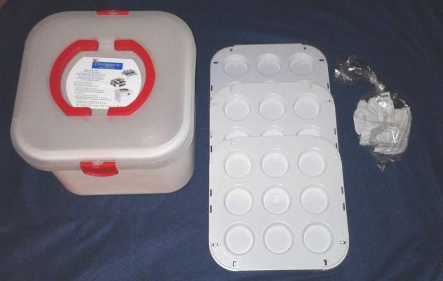 NEW Portable Cupcake Carrier CELEBRATE IT ~ 3 Trays