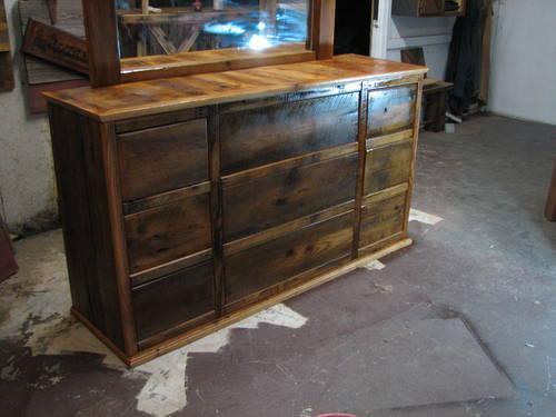 Barn wood nine drawer dresser with mirror for sale in marshfield