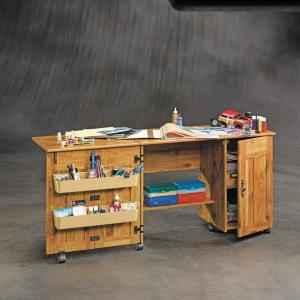 New Sauder Bishop Pine Sewing And Craft Table Chest Mt