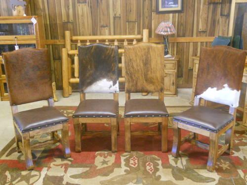 New Set Of 4 Rustic Western Dining Chairs Cowhide