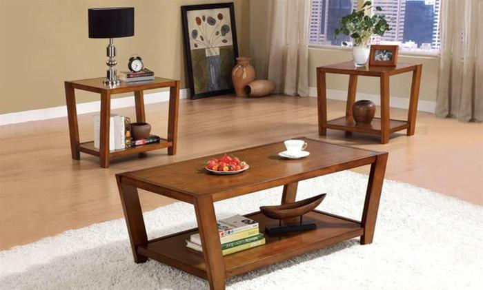 New Three Piece Coffee Table Sets Contemporary Angled