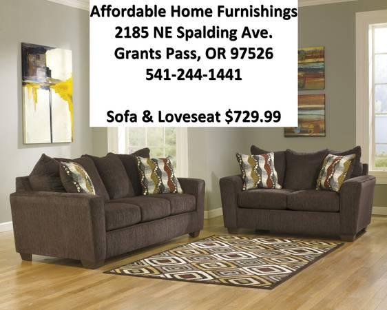 New walnut fabric sofa set with manufacturers warranty for Affordable furniture grants pass oregon