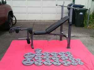New Weight Bench, 205lbs EZ Grip Weights, Press Bar - $160 EugeneSpfldSanta Clara