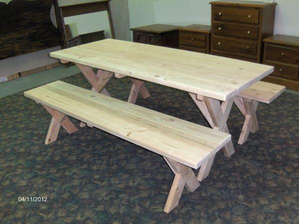 New Wood Picnic Table With Separate Benches Cody Can Secondhand For Sale In Prescott