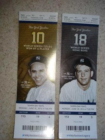 New York Yankee Tickets,Two, Monday,7PM June 30th -
