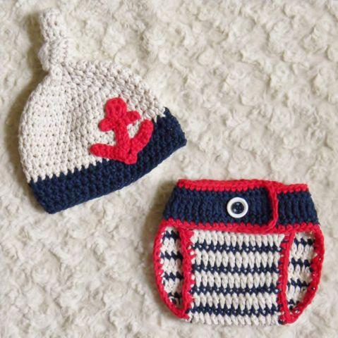 Newborn Hand Crochet Baby Boy Sailor Knot Hat and Diaper ...