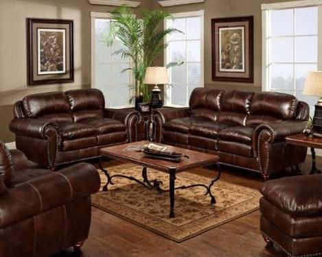 Newport Hunter Place Aspen Leather Sofa And Love Seat