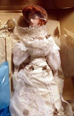 NIB Franklin Mint Gibson Girl Bride Porcelain Doll 21 NRFB