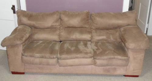 Nice beige tan micro suede couch and matching large for Suede couches for sale