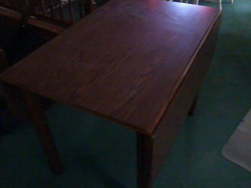 Nice Small Wooden Table W Fold Down