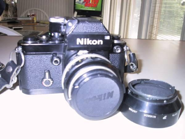 Nikon Black, F2 with 50mm, 24mm & 135mm lenses. - $425