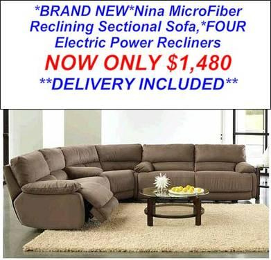 nina cappuccino fabric power reclining sectional sofa for sale in fort pierce florida. Black Bedroom Furniture Sets. Home Design Ideas