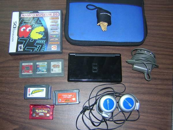 Nintendo DS Lite Black with Games and Accessories - $80