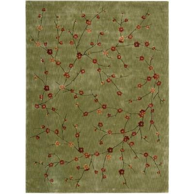 Nourison rug boutique cherry blossom green 9 ft 6 in x 13 ft area