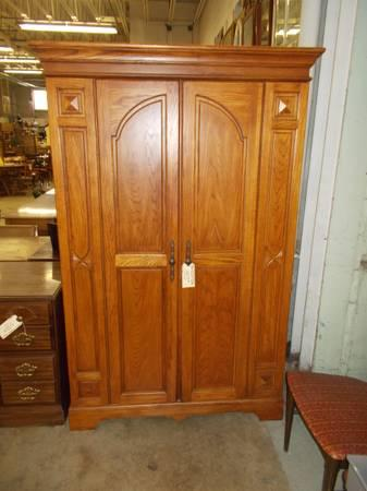 Oak 2 Door Armoire Entertainment Center   $165