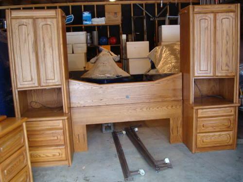 Oak bedroom set headboard bedframe dresser armoire 2 for Bedroom cabinets for sale