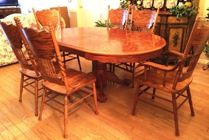 Oak Claw Foot Dining Room Table W 6 Chairs Obo For Sale In