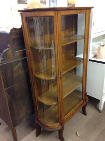 Oak Curved Glass China Cabinet - $375