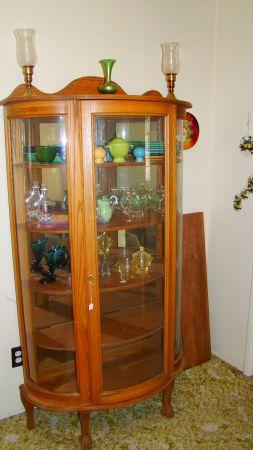 Oak curved glass China Cabinet - $800 Farmington