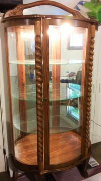 Oak Curved Glass Curio Cabinet