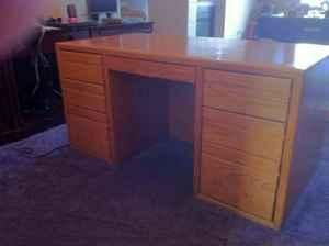 OAK DESK, FILING CABINET U0026 PRINTER/MISC CABINET   $200