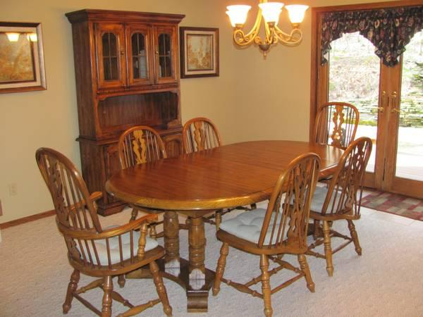 oak dining room set table with 6 chairs for sale