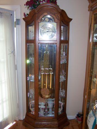 Oak Grandfather Clock W Curio Clarksville Tn 37043