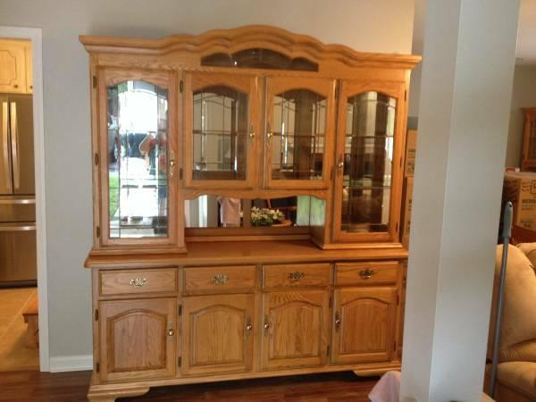 Oak Hutch China Cabinet - $340