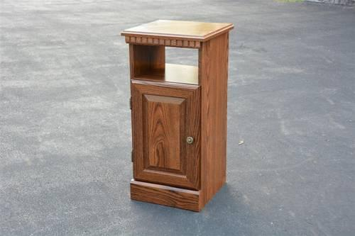 Oak or walnut tall slim night stand table lamp side for Tall slim lamp table