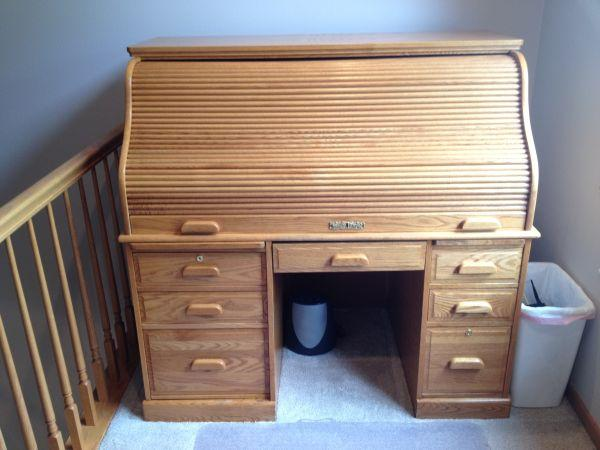 Oak Roll Top Computer Desk Onalaska For Sale In